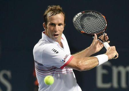 FILE PHOTO - Jul 28, 2016; Toronto, Ontario, Canada; Radek Stepanek of Czech Republic plays a shot against Novak Djokovic of Serbia on day four of the Rogers Cup tennis tournament at Aviva Centre. Mandatory Credit: Dan Hamilton-USA TODAY Sports