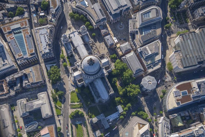 Aerial view of St Paul's Cathedral. (Photo: Jason Hawkes/Caters News)
