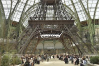 <p>Not one to do things half-heartedly, Karl Lagerfeld paid tribute to the City of Light with a miniature Eiffel Tower. Sure must have been tough to beat this one<em>. [Photo: Getty]</em> </p>