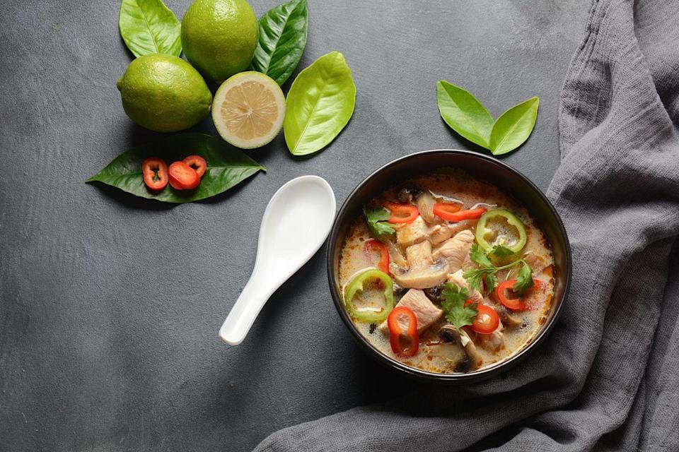 <p>You have a can of chicken soup in your pantry and it's been there because canned chicken soup isn't exciting. Make it exciting.</p><p>In a medium pot over medium-high, heat the (15 oz) can of chicken soup. Stir in 1/4 cup of coconut milk, 1 tbsp red or green curry paste (if you have it), 1 garlic clove (thinly sliced), 1 Tbsp of fish sauce, and hot chili oil, to taste.</p>