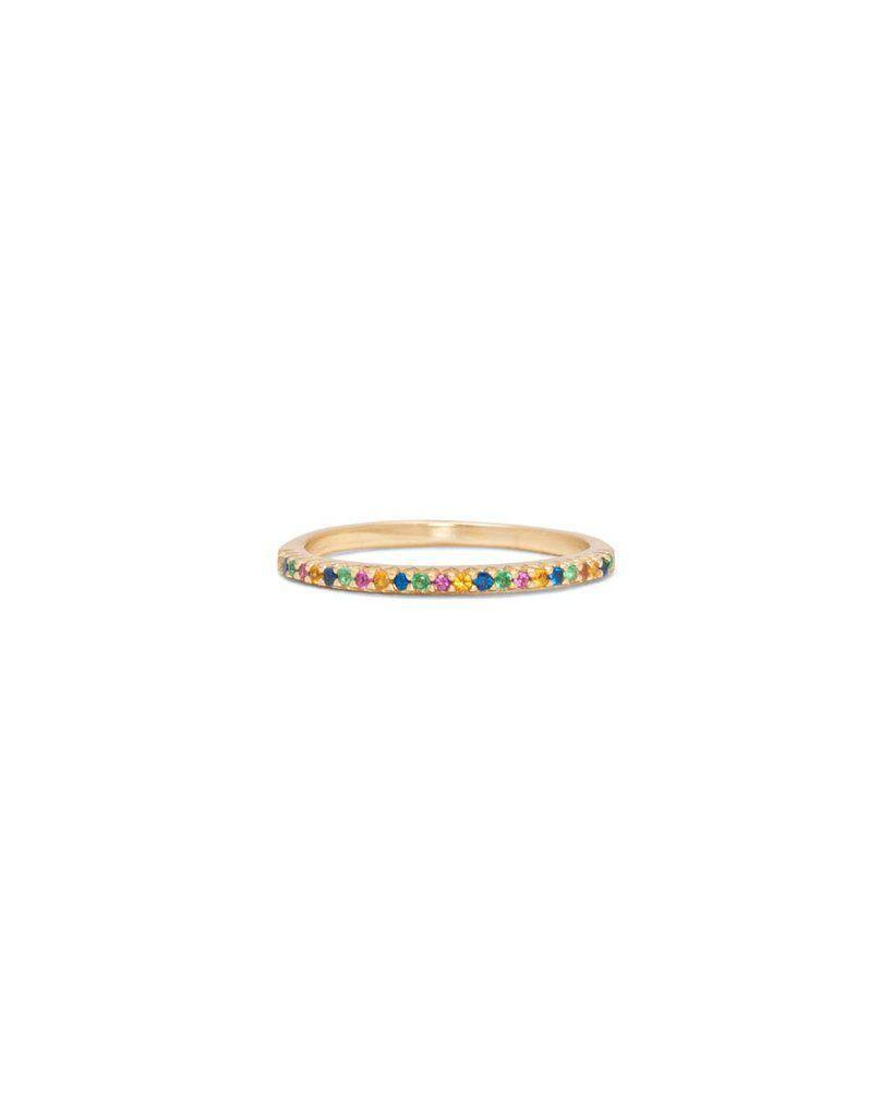 """<p><strong>Shashi</strong></p><p>bando.com</p><p><strong>$50.00</strong></p><p><a href=""""https://www.bando.com/products/diamond-bar-ring-rainbow"""" rel=""""nofollow noopener"""" target=""""_blank"""" data-ylk=""""slk:SHOP IT"""" class=""""link rapid-noclick-resp"""">SHOP IT</a></p><p>If you're looking for a subtle way to wear the rainbow trend, opt for a barely there ring with tiny colored gemstones. This one will fit right in with your regular stack for a hint of color without going overboard.<br></p>"""