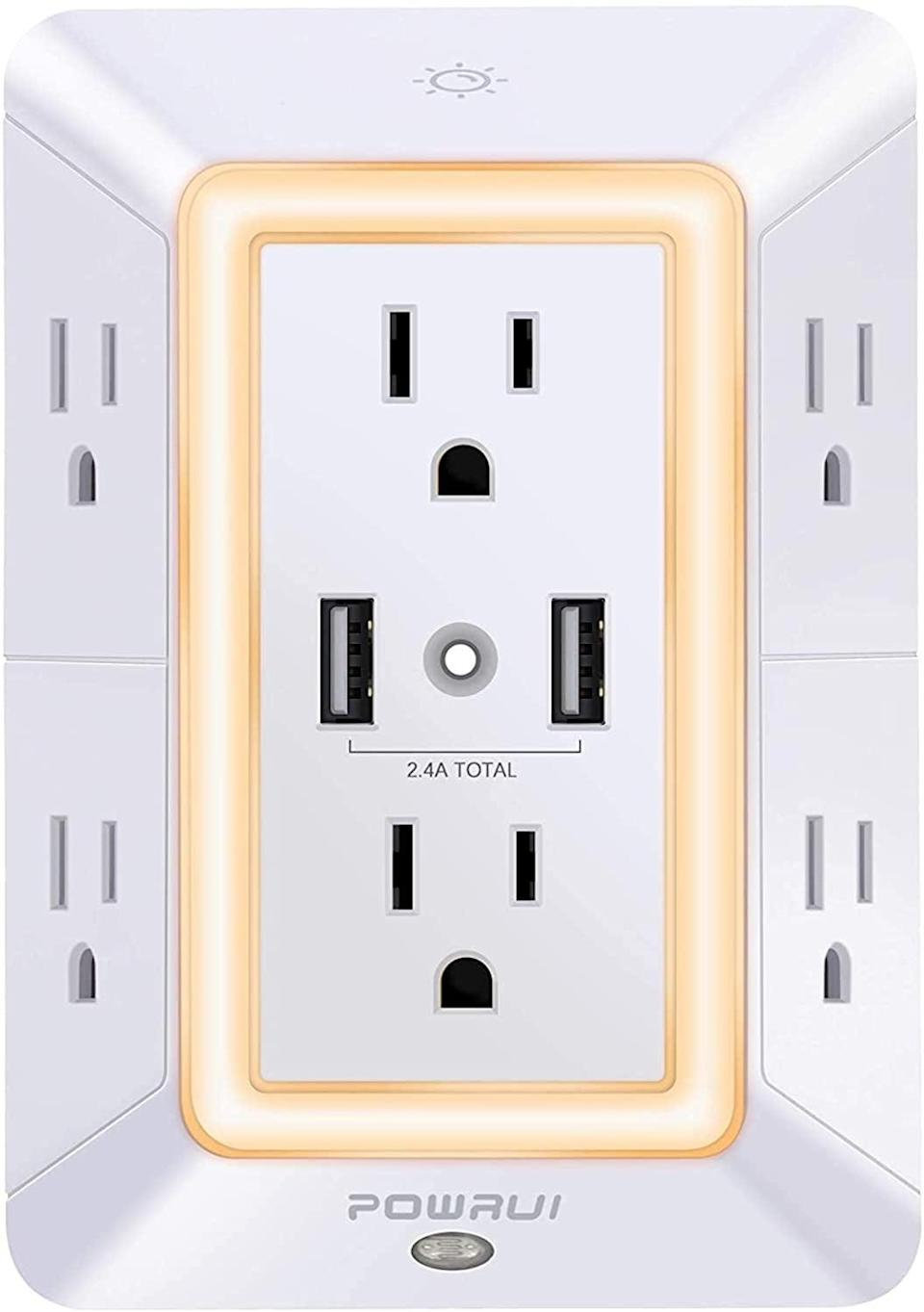 <p>The three-sided <span>POWRUI 6-Outlet Extender With 2 USB Charging Ports and Night Light</span> ($20) is great for work-from-home setups, entertainment centers, and as a central charging hub for the whole family. </p>