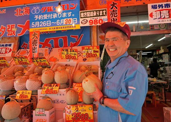 "Affectionately called ""the melon guy"", Mr. Fujimoto is a pro when it comes to melons"