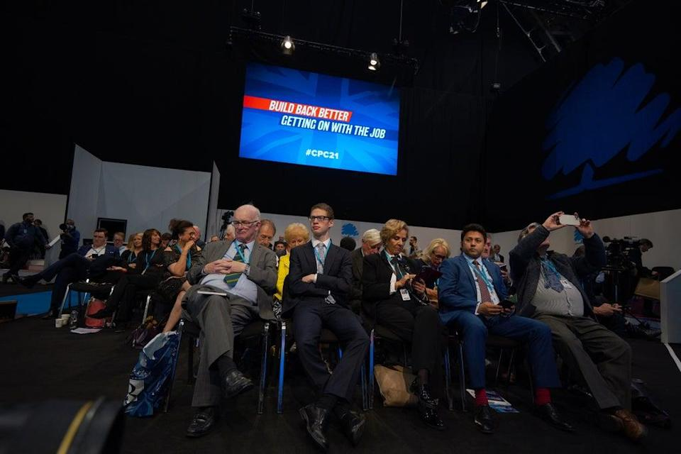 Delegates wait for Communities Secretary Michael Gove to give his keynote address (Peter Byrne/PA) (PA Wire)