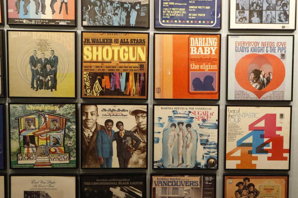 Closeup of album covers displayed during a tour of the Motown Museum, Wednesday, July 15, 2020, in Detroit. The Detroit building where Gordy built his music empire reopened its doors to the public on Wednesday. It had been closed since March due to the coronavirus pandemic. (AP Photo/Carlos Osorio)