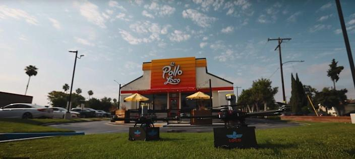 El Pollo Loco's Air Loco delivery drones stationed out front of a SoCal restaurant location.