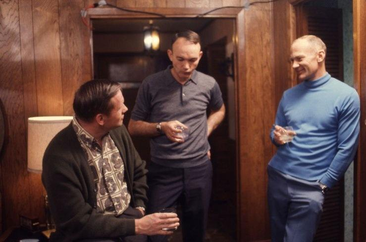 Not originally published in LIFE. Armstrong, Collins, and Aldrin chat over drinks in Houston, March 1969. (Ralph Morse—Time & Life Pictures/Getty Images)   Click here to see the full collection at LIFE.com