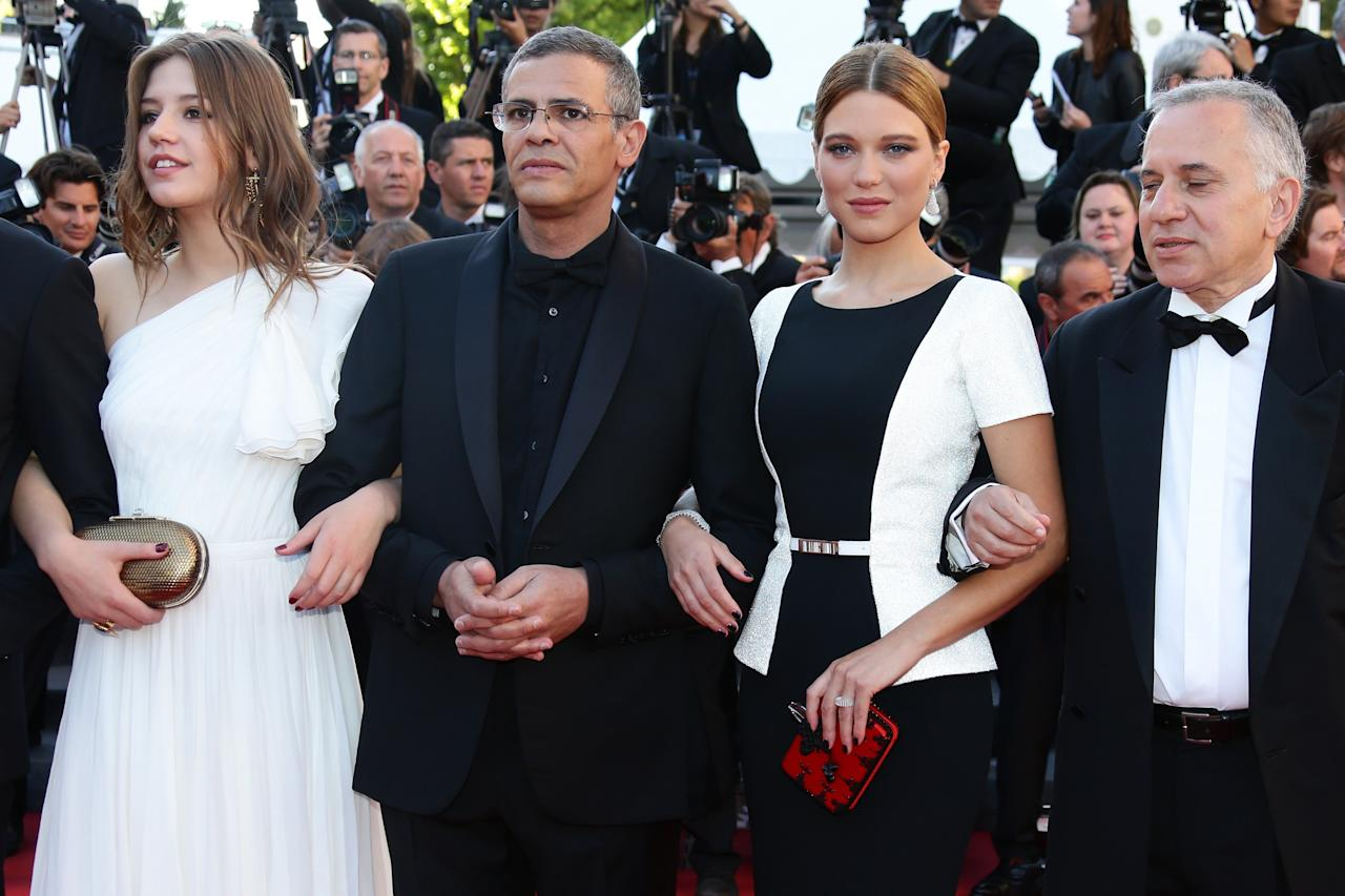 CANNES, FRANCE - MAY 26:  Actors Adele Exarchopoulos, director Abdellatif Kechiche, actress Lea Seydoux and producer Brahim Chioua attend the 'Zulu' Premiere and Closing Ceremony during the 66th Annual Cannes Film Festival at the Palais des Festivals on May 26, 2013 in Cannes, France.  (Photo by Vittorio Zunino Celotto/Getty Images)