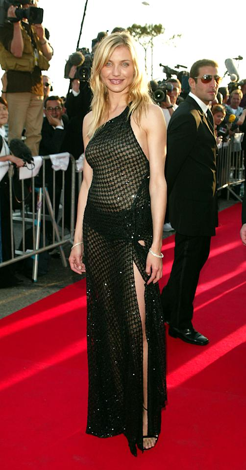 "Cameron Diaz attends the screening of ""Gangs of New York"" during the 55th Annual Cannes Film Festival on May 20, 2002."