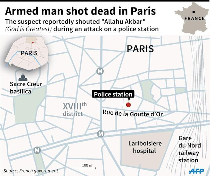 Map of Paris locating attack on police station. 90 x 75 mm (AFP Photo/Jonathan STOREY)