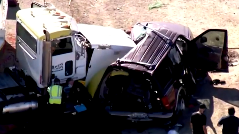 An image capture from aerial footage shows a collision between a SUV and semitruck on March 2, 2021, near Holtville, California, about 10 miles north of the U.S.-Mexico border. / Credit: CBS Los Angeles