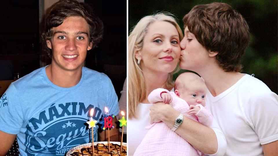 Jordan McGuinness on his 18th birthday and with his mother and baby sister.