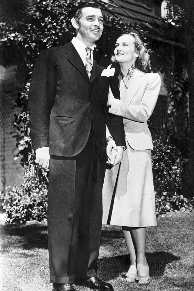 """<p>Following his divorce from Texas socialite Maria Langham (which MGM Studios helped procure), Gable and his lover, Carole Lombard, <a rel=""""nofollow noopener"""" href=""""http://mentalfloss.com/article/56085/20-things-you-might-not-have-known-about-gone-wind"""" target=""""_blank"""" data-ylk=""""slk:eloped in Kingman, Arizona"""" class=""""link rapid-noclick-resp"""">eloped in Kingman, Arizona</a> on a two-day break from filming. The reception? Sandwiches and coffee in the backseat of Gable's agent's car. <br></p>"""