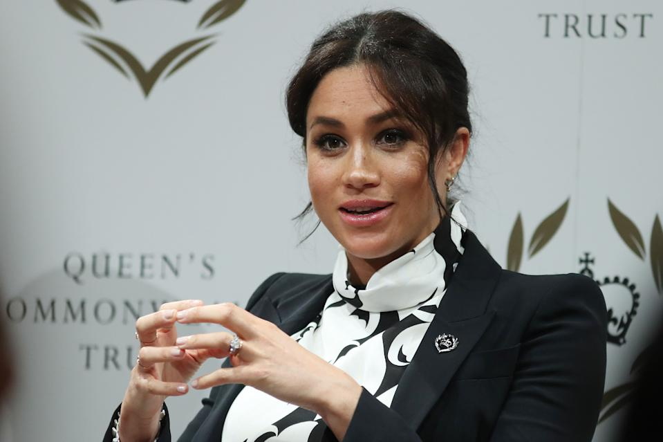 Britain's Meghan, Duchess of Sussex takes part in a panel discussion convened by the Queen's Commonwealth Trust to mark International Women's Day in London on March 8, 2019. (Photo by Daniel LEAL-OLIVAS / various sources / AFP)        (Photo credit should read DANIEL LEAL-OLIVAS/AFP via Getty Images)