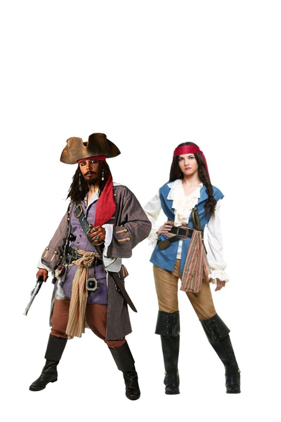 """<p>Yo-ho and a bottle of rum. Channel your adventurous side by dressing down instead of up in this pirate garb. </p><p><a class=""""link rapid-noclick-resp"""" href=""""https://go.redirectingat.com?id=74968X1596630&url=https%3A%2F%2Fwww.halloweencostumes.com%2Fcaptain-jack-sparrow-deluxe-adult.html&sref=https%3A%2F%2Fwww.womansday.com%2Fstyle%2Fg28691602%2Fdisney-couples-costumes%2F"""" rel=""""nofollow noopener"""" target=""""_blank"""" data-ylk=""""slk:SHOP JACK SPARROW COSTUME"""">SHOP JACK SPARROW COSTUME</a></p><p><a class=""""link rapid-noclick-resp"""" href=""""https://go.redirectingat.com?id=74968X1596630&url=https%3A%2F%2Fwww.halloweencostumes.com%2Fwomens-seven-seas-sweetie.html&sref=https%3A%2F%2Fwww.womansday.com%2Fstyle%2Fg28691602%2Fdisney-couples-costumes%2F"""" rel=""""nofollow noopener"""" target=""""_blank"""" data-ylk=""""slk:SHOP SEVEN SEAS LADY COSTUME"""">SHOP SEVEN SEAS LADY COSTUME</a> </p>"""