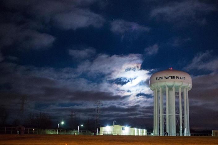 The City of Flint Water Plant is illuminated by moonlight. (Photo: Brett Carlsen/Getty Images)