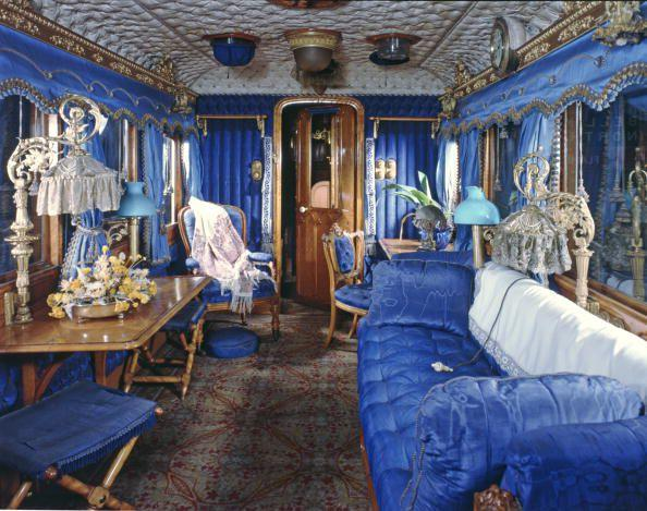 <p>When Queen Victoria first rode on the royal train in 1842 from Windsor to London, the interior of her saloon was the epitome of extravagance, from the upholstered blue walls to ornate gold accessories. Pictured above is the modern version. </p><p></p>