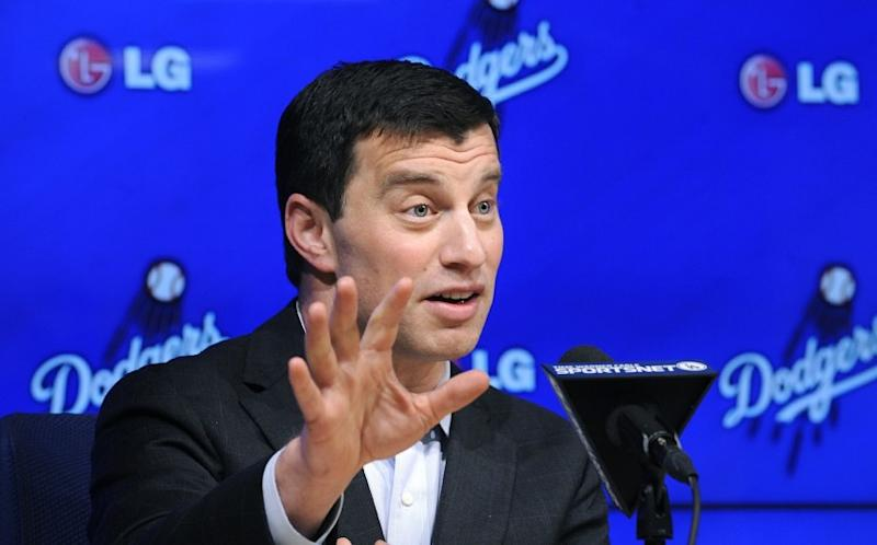 Andrew Friedman fields a question, or likely sidesteps it, during his introductory news conference on Friday.