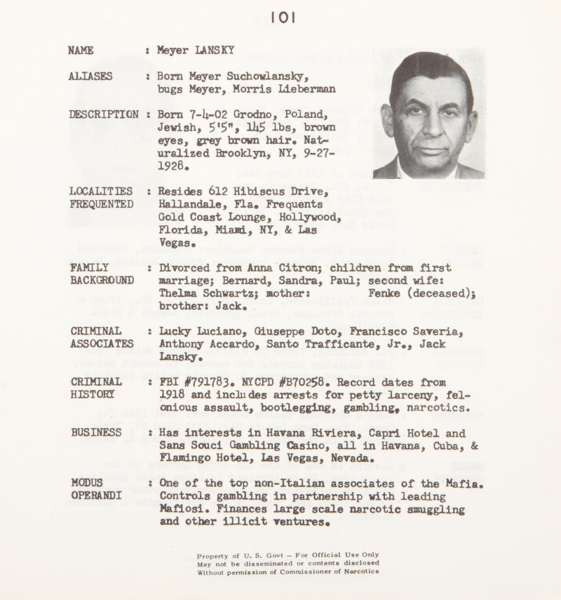 """This undated photo provided by Bonhams auction house shows a page featuring  Meyer Lansky, from a thick government file discovered during the early 1990s on the backseat of a New York City taxi containing the mug shots, criminal history and associates and favorite hangouts of 843 Mafia members during the 1950s and early 1960s. Nearly 20 years after its discovery, the three-ring telephone book-sized binder titled 'Mafia"""" and stamped """"United States Treasury Department Bureau of Narcotics"""" on the cover, is being offered for sale at Bonham's New York on Wednesday, June 22, 2011. (AP Photo/Bonhams)"""