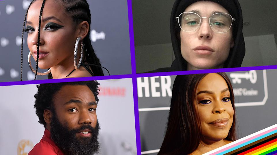 Celebrities, including, clockwise from top left, Tinashe, Elliot Page, Niecy Nash and Donald Glover, were among those to have come out during the pandemic. (Photos: Getty and Instagram)