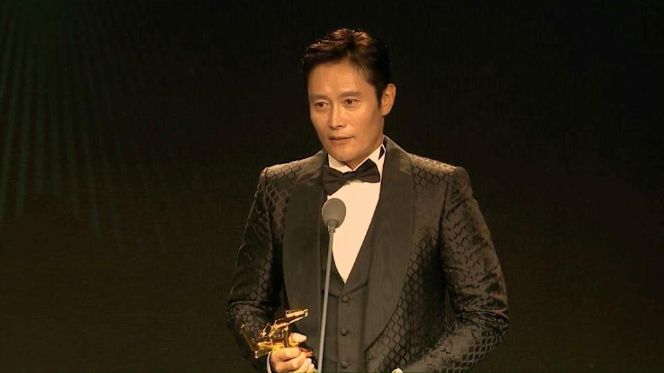 Lee Byung-hun gives an acceptance speech at the 2021 Asian Film Awards. - Credit: Asian Film Awards