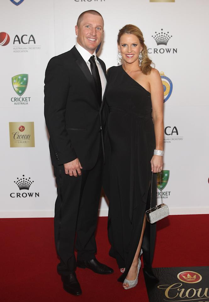 MELBOURNE, AUSTRALIA - FEBRUARY 27:  Brad Haddin and Karina Haddin arrive at the 2012 Allan Border Medal Awards at Crown Palladium on February 27, 2012 in Melbourne, Australia.  (Photo by Lucas Dawson/Getty Images)