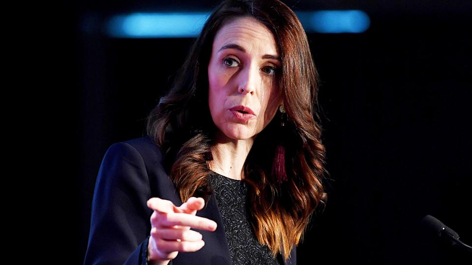 Jacinda Ardern, pictured here at the Business NZ Election Conference.