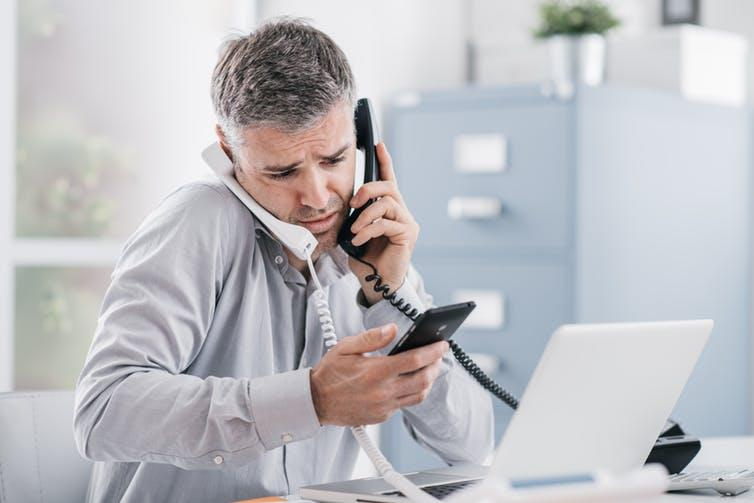 """<span class=""""caption"""">Multitasking: gig economy work can be stressful.</span> <span class=""""attribution""""><a class=""""link rapid-noclick-resp"""" href=""""https://www.shutterstock.com/image-photo/stressed-desperate-businessman-working-his-office-778064218?src=937a1c6b-628b-4d69-ae8e-b3aee1f72020-1-0"""" rel=""""nofollow noopener"""" target=""""_blank"""" data-ylk=""""slk:Shutterstock"""">Shutterstock</a></span>"""