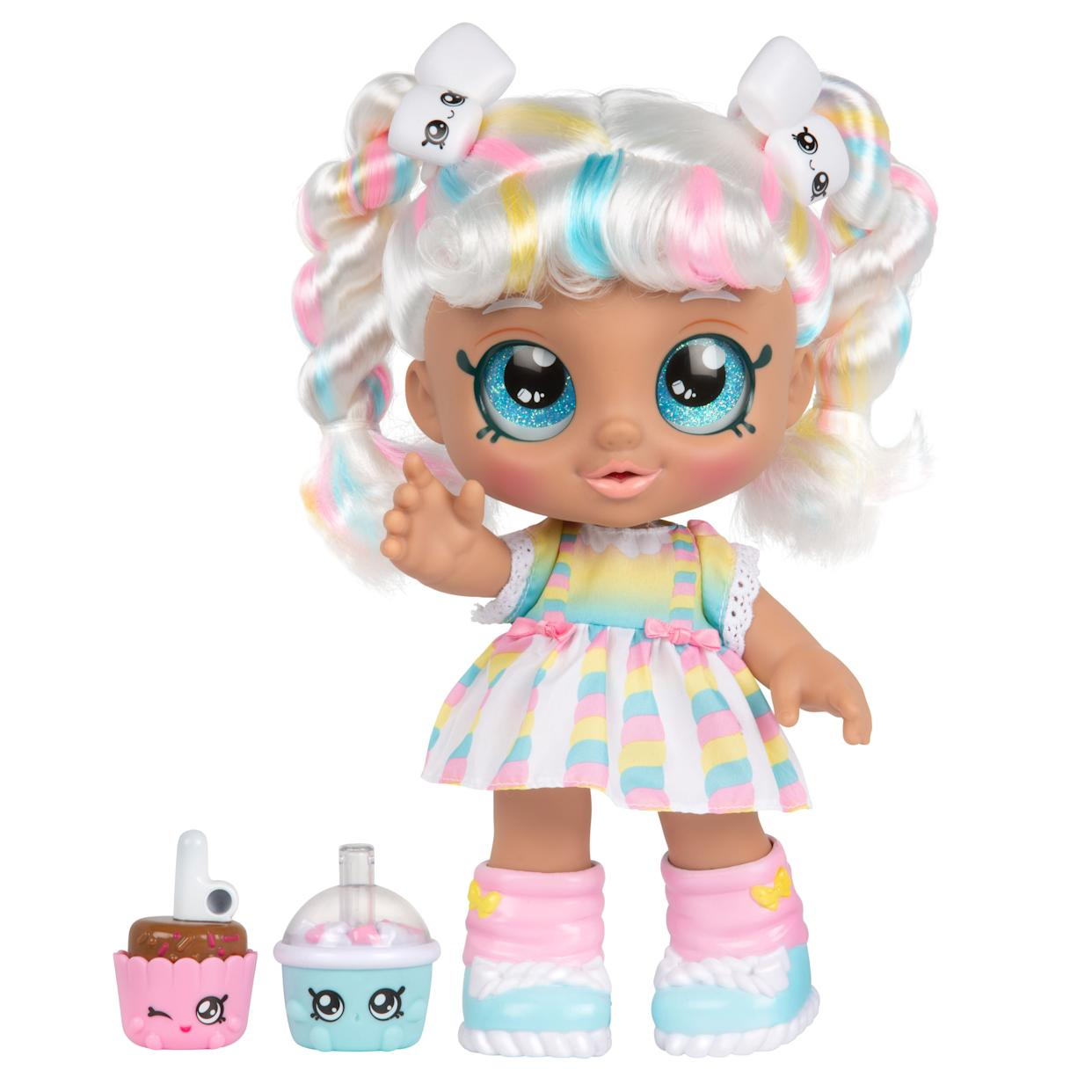 "Kindi Kids Snack Time Friends, Marsha Mello - Pre-school 10 inch doll, and 2 Shopkins accessories. Meet the Kindi Kids! The cutest Pre-Schoolers you'll ever see. These adorable girls are full of fun and play! They love attending Rainbow Kindi. A place where every day is about playing and making friends!&nbsp;<a href=""https://fave.co/2zLS0v1"" rel=""nofollow noopener"" target=""_blank"" data-ylk=""slk:Find it for $25 at Walmart"" class=""link rapid-noclick-resp""><strong> Find it for $25 at Walmart</strong> </a>."