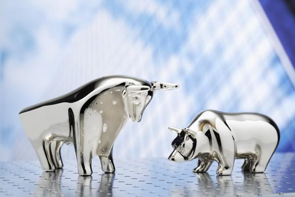 Sterling silver bull and bear figurines facing each other.