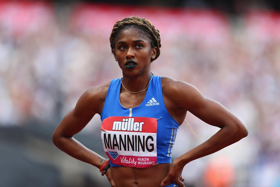 <p>Wearing a braided crown hairstyle and dark blue lipstick at the Muller Anniversary Games in 2017.</p>