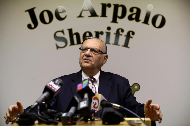 Then-Sheriff Joe Arpaio speaks during a news conference at his headquarters in Phoenix, Aug. 31, 2012. (Joshua Lott / Reuters)