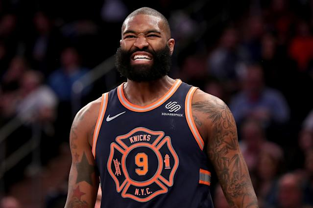 "<a class=""link rapid-noclick-resp"" href=""/nba/players/5083/"" data-ylk=""slk:Kyle O'Quinn"">Kyle O'Quinn</a> declined a $4.2 million player option with the <a class=""link rapid-noclick-resp"" href=""/nba/teams/nyk"" data-ylk=""slk:New York Knicks"">New York Knicks</a> to enter free agency. (Getty)"