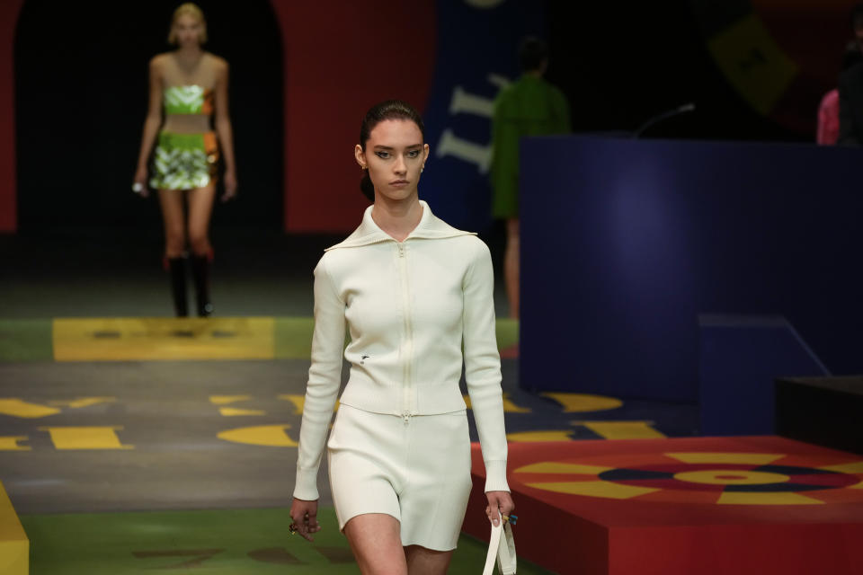 A model wears a creation for the Dior Spring-Summer 2022 ready-to-wear fashion show presented Tuesday, Sept. 28, 2021, in Paris. (AP Photo/Francois Mori)