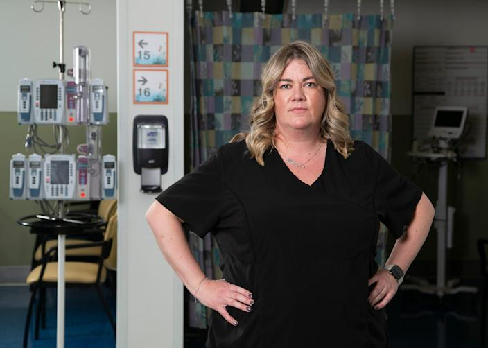 Jenny Granger, a registered nurse and a clinical resource leader at a COVID-19 unit at Valleywise Health Medical Center in Phoenix on Dec. 21, 2020.