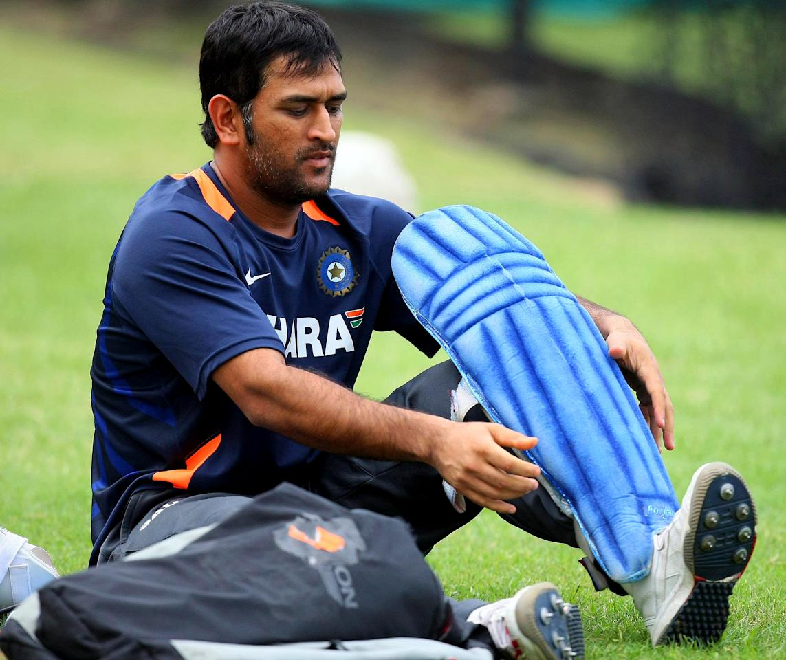 DURBAN, SOUTH AFRICA - JANUARY 10:  MS Dhoni of India during an India cricket team training session at Sahara Stadium, Kingsmead on January 10, 2011 in Durban, South Africa.  (Photo by Anesh Debiky/Gallo Images/Getty Images)