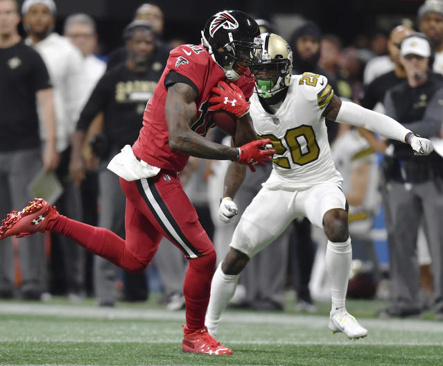 "Will <a class=""link rapid-noclick-resp"" href=""/nfl/players/24793/"" data-ylk=""slk:Julio Jones"">Julio Jones</a> be running free in New Orleans? (AP/Danny Karnik)"