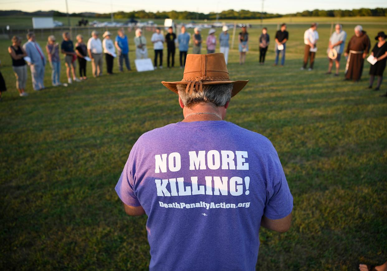 Kevin Riggs, pastor at Franklin Community Church, joins other protesters outside the execution of Stephen Michael West at Riverbend Maximum Security Institution in Nashville, Tenn., Thursday, Aug. 15, 2019.