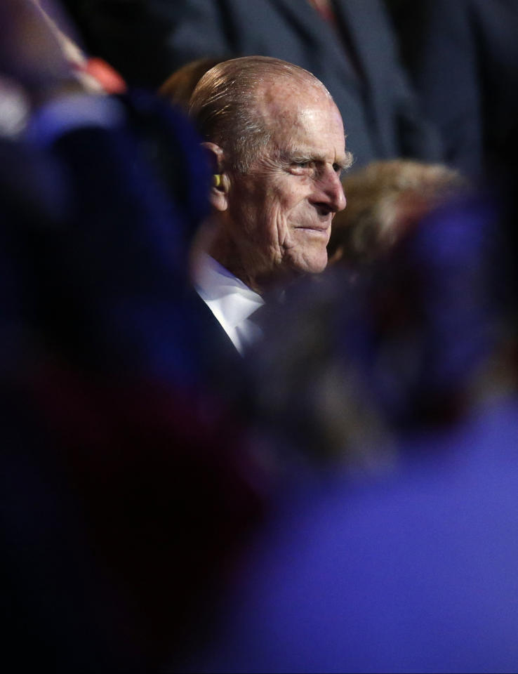 Britain's Prince Philip, the Duke of Edinburgh attends the Opening Ceremony at the 2012 Summer Olympics, Friday, July 27, 2012, in London. (AP Photo/Jae C. Hong)