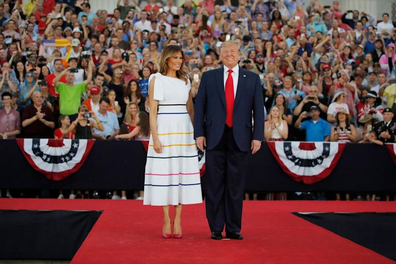 President Donald Trump and First Lady Melania Trump celebrate the Fourth of July together in 2019.