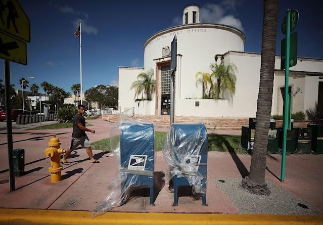 <p>Mail boxes have been covered up as the city prepares for the approaching Hurricane Irma on Sept. 7, 2017 in Miami Beach, Fla. Current tracks for Hurricane Irma shows that it could hit south Florida later this weekend. (Photo: Mark Wilson/Getty Images) </p>
