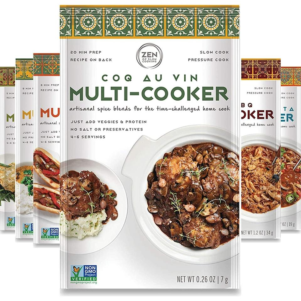 <p>Make slow cooking a breeze with the <span>Gourmet Spice Blends for Home Cooking (Sampler Pack of 6) </span> ($21). It is non GMO, low/no Salt, gluten free, keto and paleo friendly.</p>