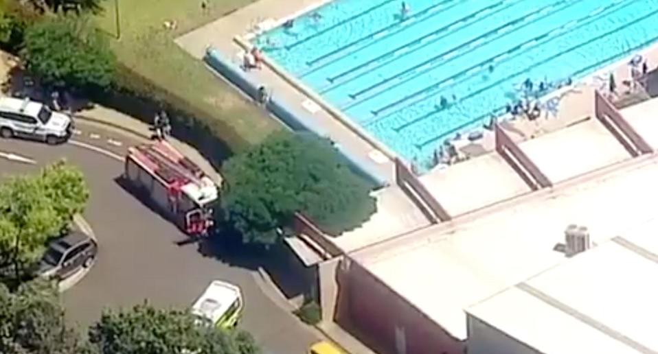 Nine young children are being assessed for breathing difficulties after it's believed an incorrect chemical mixture led to the fumes being released at Wollondilly Community Leisure Centre. Source: 7 News