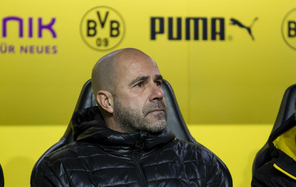 """Peter Bosz is out after 24 games at <a class=""""link rapid-noclick-resp"""" href=""""/soccer/teams/borussia-dortmund/"""" data-ylk=""""slk:Borussia Dortmund"""">Borussia Dortmund</a>. (Getty)"""