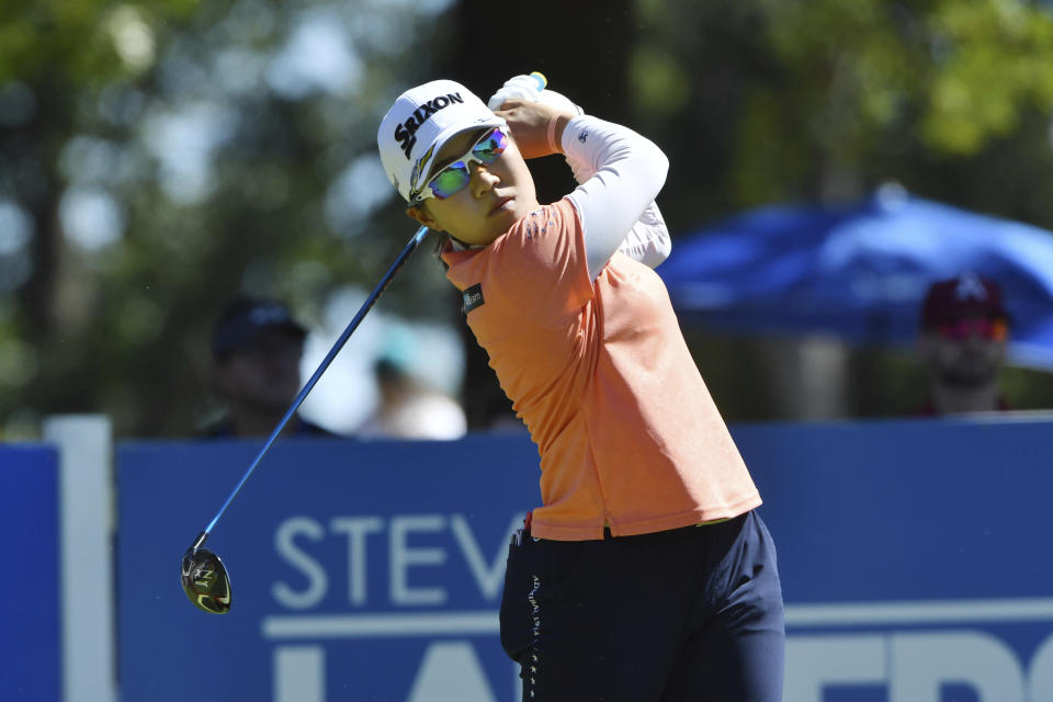 Nasa Hataoka, of Japan, watches her drive off the 9th tee during the second round of the LPGA Walmart NW Arkansas Championship golf tournament, Saturday, Sept. 25, 2021, in Rogers, Ark. (AP Photo/Michael Woods)
