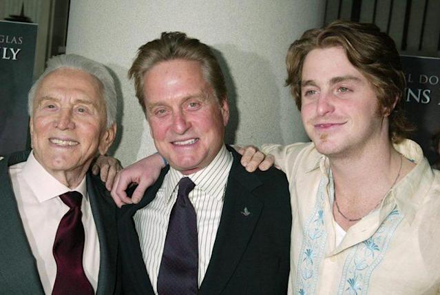 Kirk Douglas, Michael Douglas, and Cameron Douglas share a strong family bond. (Photo: Gregory Pace/FilmMagic)