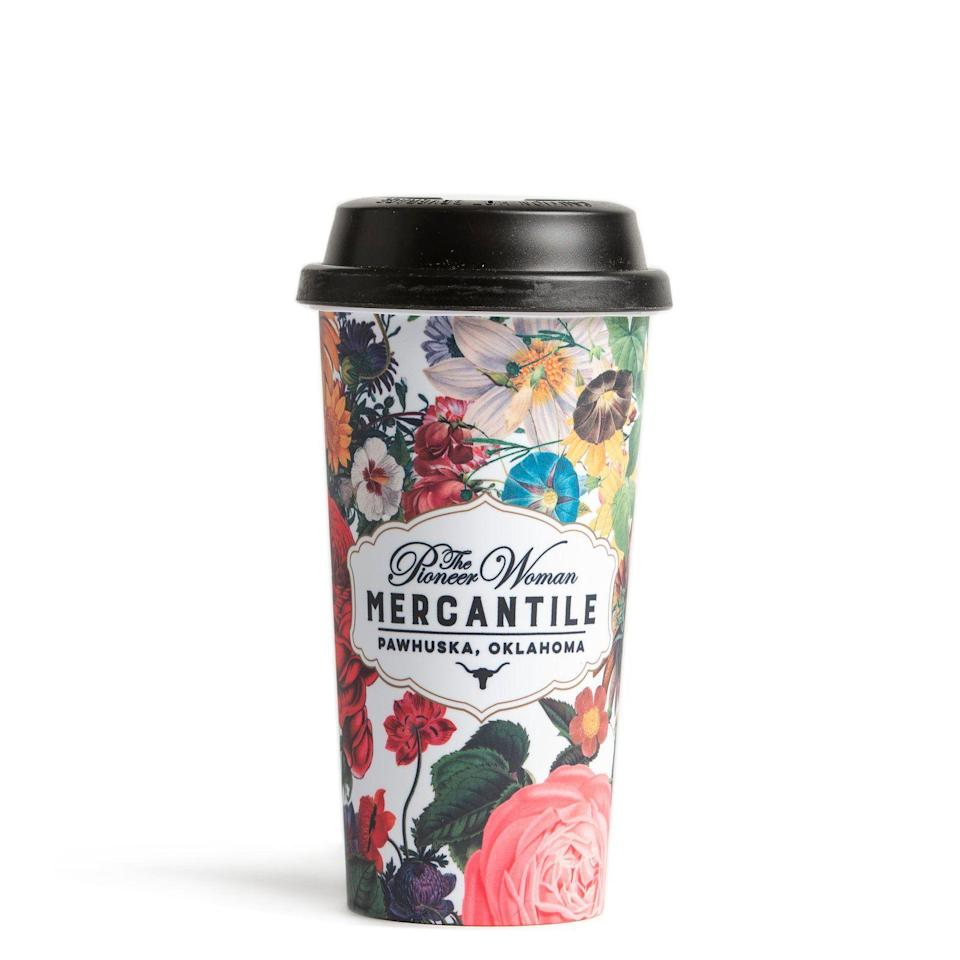 """<p>themercantile.com</p><p><strong>$18.00</strong></p><p><a href=""""https://www.themercantile.com/collections/rees-picks/products/floral-mercantile-tumbler"""" rel=""""nofollow noopener"""" target=""""_blank"""" data-ylk=""""slk:Shop Now"""" class=""""link rapid-noclick-resp"""">Shop Now</a></p><p>With this pretty tumbler in hand, you'll be able to grab your coffee (or tea, or hot chocolate, or <a href=""""https://www.thepioneerwoman.com/food-cooking/recipes/a32303003/margareeta-recipe/"""" rel=""""nofollow noopener"""" target=""""_blank"""" data-ylk=""""slk:Marg-a-Ree-ta"""" class=""""link rapid-noclick-resp"""">Marg-a-Ree-ta</a> 😆) and get out the door that much faster. Every busy parent needs one. </p>"""