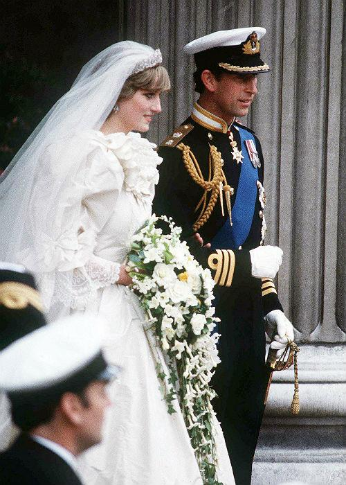 <b>2. Prince Charles and Diana Spencer:</b> Diana, Princess of Wales and Prince Charles emerge from St. Paul's Cathedral after their wedding July 29, 1981 in London, England.