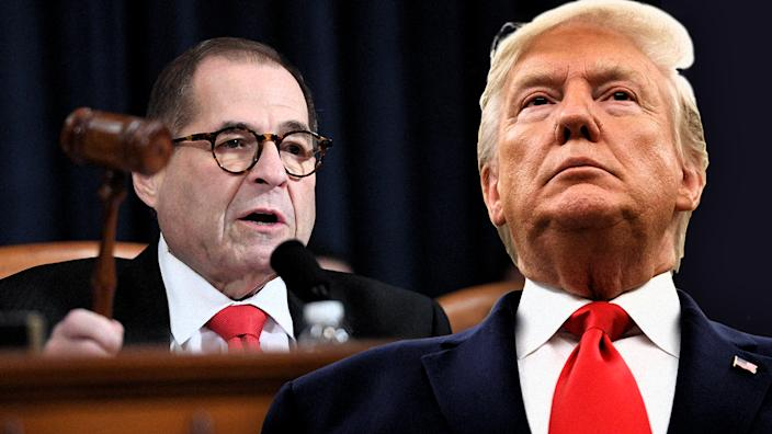 Rep. Jerry Nadler, Chairman, Judiciary Committee and President Donald Trump. (Photo illustration: Yahoo News; photos: Saul Loeb/AFP via Getty Images, AP)
