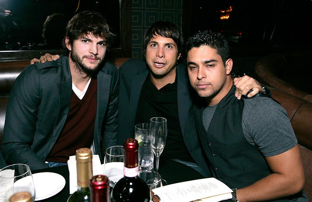 "Ashton catches up with ""Girls Gone Wild"" founder Joe Francis (who was sprung from the slammer in March) and his former ""That '70s Show"" costar, Wilmer Valderrama. Todd Williamson/<a href=""http://www.wireimage.com"" target=""new"">WireImage.com</a> - May 20, 2008"